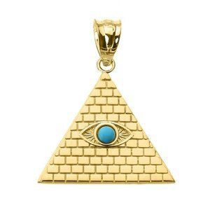 10K Real Gold Pyramid Turquoise Evil Eye Pendant